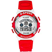Reloj de pulsera - HONHX chicas jovenes Reloj de pulsera digital Reloj de multiples funciones Rojo
