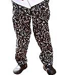 Kochbekleidung, 100% Baumwolle Schwarz Und Weiß Küche Ware bedruckt Chef Hosen mit 2Seitentaschen und 1Gesäßtasche 820219, schwarz/weiß, UK:S (Label size:L)
