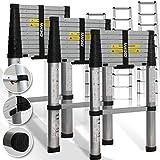 Teleskopleiter 3,80M ✓Soft Close Anti Pinch Fingerschutz beim Ein- und Ausfahren ✓ ALU-Leiter✓ ✓ Stehleiter ✓ Anlegeleiter ✓ Mehrzweckleiter ✓ Ausziehleiter ✓ Sprossenleiter