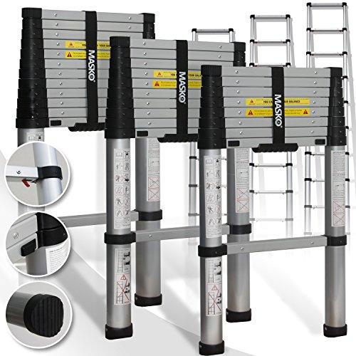 Teleskopleiter 3,80M ✓Soft Close Anti Pinch Fingerschutz beim Ein- und Ausfahren ✓ ALU-Leiter✓ ✓ Stehleiter ✓ Anlegeleiter ✓ Mehrzweckleiter ✓ Ausziehleiter ✓ Sprossenleiter Test