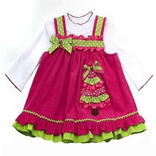 Rare Editions Mädchen Kinder Weihnachts Kleid Tannenbaum Pink (116) (Kleid Weihnachten Rare Editions)