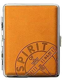 """Zigarettenetui aus feinem Kunst Leder """"Spirit of St. Louis: New York to Paris"""" hochwertig verarbeitet in Pfirsich-Braun"""