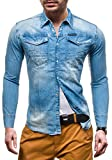 BOLF Jeanshemd Herrenhemd Casual Denim Republic 4419 Hellblau M [2B2]