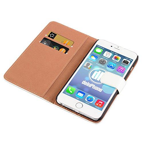 "deinPhone Apple iPhone 6 6S Plus (5.5"") KUNSTLEDER FLIP CASE Hülle Tasche Eulen Happy Family Kreditkartenfach Weiß"