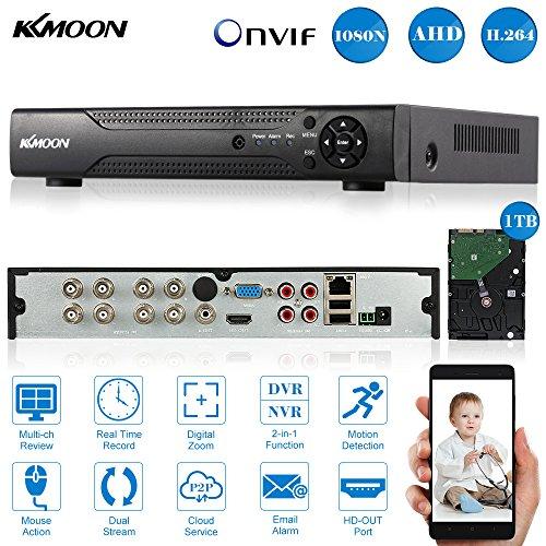 KKmoon 8CH Digital Video Recorder voll 1080N/720p AHD DVR NVR HDMI P2P Cloud Netzwerk Onvif + 1 TB Festplatte unterstützt Plug Play für 2000TVL CCTV Sicherheit Kamera-Überwachungssystem