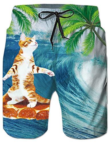 Rave on Friday 3D Druck Strandhosen Welle Katze Grafik Schnelltrocknend Beachshorts Mit Einstellbarer Kordelzug M