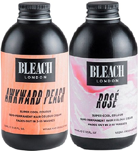 (2 PACK) Bleach London Super Cool Colours Rose x 150ml & Bleach London Super Cool Colours Awkward Peach x 150ml Bleach London Rose