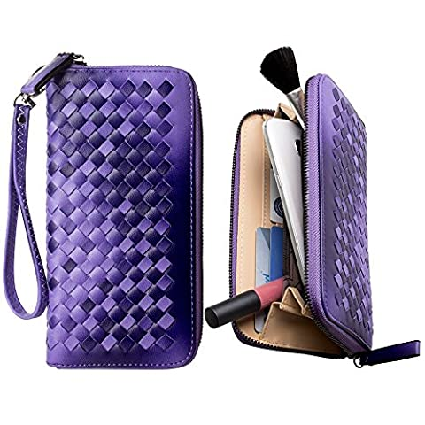 CellularOutfitter Woven Clutch Wallet - Multiple Card Slots, Removable Wristlet - Purple