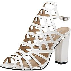 Shenn Damen Stilvoll Westlicher Stil Peep Toe Schlinge Zurück Gladiator Strappy Sandalen Sexy Hoch Blockabsatz Abendliche Feier Kleid Pumps Weiß SN02345 EU37
