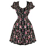 Hell Bunny Ezmerelda Black Pink Floral Boho Gypsy Vintage 1950s 1970s Dress