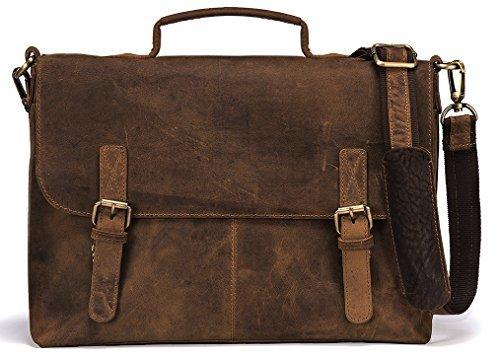Handolederco Vintage Büffel-Leder-Kurier-Satchel Laptoptasche Mens-Tasche Verrückte Vintage-Leder-Kurier-Aktenkoffer -Beutel -