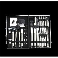 Holzsammlung 26 piezas utensilios barbacoa para kit barbacoa de acero inoxidable para barbacoa cubiertos en maletín de aluminio