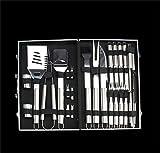Holzsammlung Professionali attrezzi per barbecue Posate per barbecue in acciaio INOX con valigetta in alluminio, 26 Pezzi barbecue utensili in una Custodia