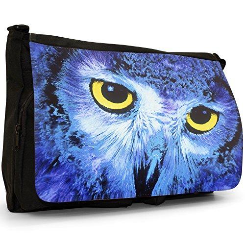 Fancy A Bag Borsa Messenger nero Owls Close Up Of Owl Face