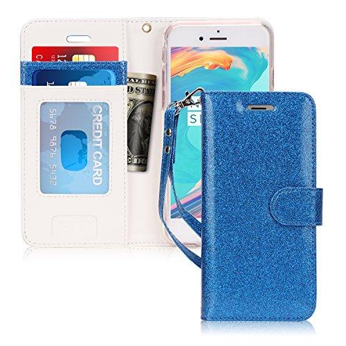 fyy iPhone 7Fall, iPhone 8Schutzhülle, [Ständer Funktion] Flip Folio Leder Wallet Tasche mit ID und Kreditkarte Taschen für Apple iPhone 8/7(11,9cm), AD-Bling-Navy