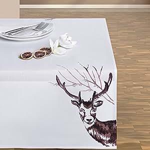 130x170 weiß Tischdecke Weihnachten Hirsch Weihnachtstischdecke Weihnachtsdeko rechteckig white DEER 2