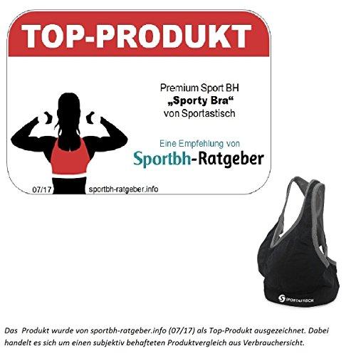 TOP-PRODUKT¹ Sport BH Sporty Bra von Sportastisch für Damen | extrem starker | ohne Bügel | Gepolstert (Push up) | Cup A bis D | 3 Jahre Garantie² Schiefer Schwarz