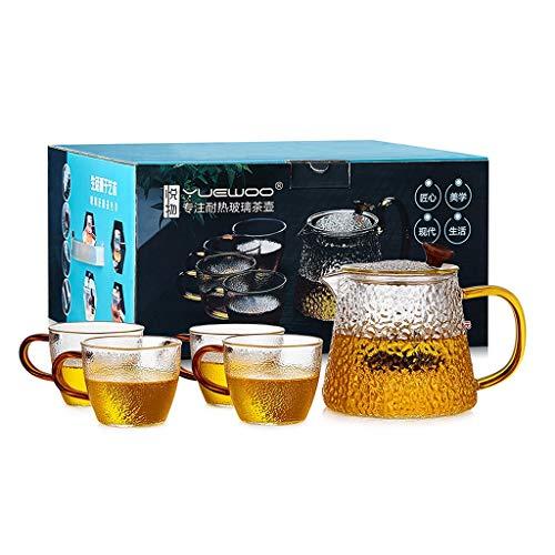 Théière en verre et tasse à thé de 4, ensemble de théière en verre avec filtre, service à thé en verre borosilicate (Couleur : B)