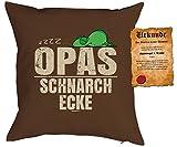 Vatertag Deko Kissen - OPAS SchnarchEcke - mit SPAßVogel-Urkunde