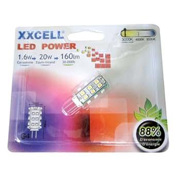 Ampoule G4 LED 1.6W pour 20W 160 lm 12V 3000K Blanc chaud 25 SMD