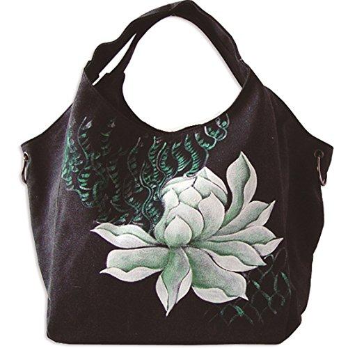 KAXIDY Damen Mädchen Schultertaschen Handbemalte Blumen Schultertasche Aktentasche (Khaki) Schwarz