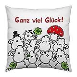 Sheepworld 44294 Baumwoll-Kissen mit Motiv Ganz viel Glück, Geschenk-Kissen, 40 cm x 40 cm