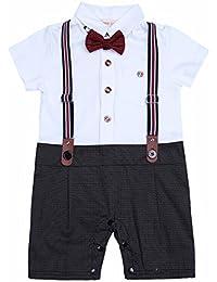 FEESHOW Niños Bebés Traje de Tartán Mangas Cortas Romper con Suspenders Straps Y Bowtie SZ 9-24 Meses