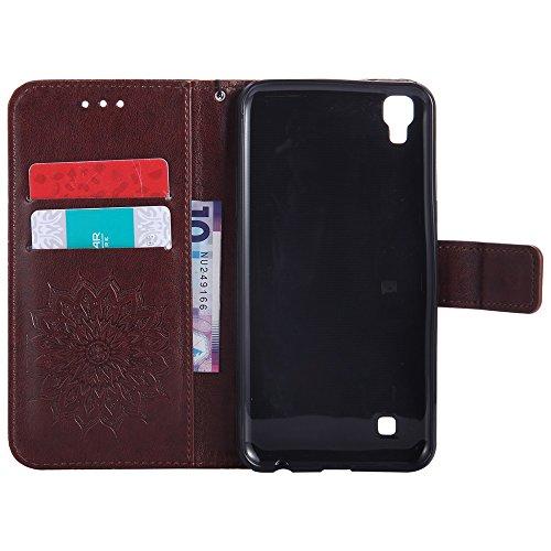 Für LG Xpower Fall, Prägen Sonnenblume Magnetische Muster Premium Weiche PU Leder Brieftasche Stand Case Cover mit Lanyard & Halter & Card Slots ( Color : Red ) Brown