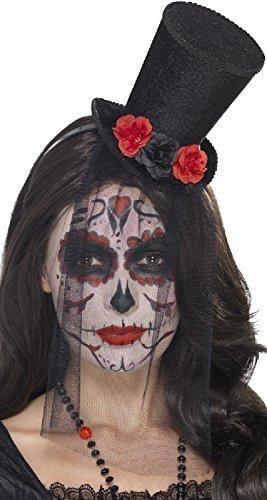 Rose Schleier schwarz rot Corpse Bride Halloween Horror Zubehör Party Kostüm Outfit Mini Zylinder (Gothic Corpse Bride Kostüm)