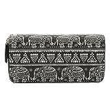 Très Chic Mailanda Geldtasche Geldbeutel Tasche Portemonnaie umlaufende Reißverschlüsse mit Design groß für Damen (Elefant Schwarz)