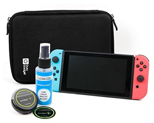 Preisvergleich Produktbild DuraGadget EVA Hartschalen Etui | Case - Schwarz + Reinigungsroboter | Cleaning Robot | Bildschirmreinigung - Schwarz - für Ihre Nintendo Switch Spielkonsole