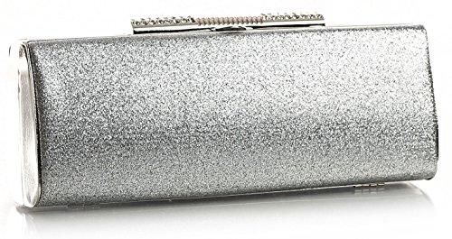 BHBS Damen Trendige glänzend Abend Partei Kupplung Handtasche 22 x 9 x 5 cm (BxHxT) 2911-11-480 Silver (Buckle Clutch Abendtasche)