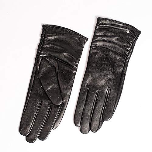 Agelec Frauen Lederhandschuhe Lokomotive Touchscreen Handschuhe Herbst und Winter Plus Samt Dicke warme REIT Lammfell Handschuhe (Color : Black Thin Lining, Größe : M)