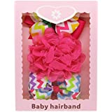 Hot DIY Kids Ribbon Bow Lace Flower Headband Bowknot Elastic Hairbands Girls Hair Accessories With Gift Box 3pcs...