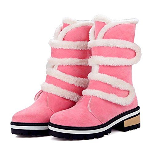 COOLCEPT Femmes Bottes Velcro Fourrure Synthetique pink