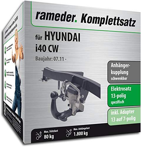 Rameder Komplettsatz, Anhängerkupplung schwenkbar + 13pol Elektrik für Hyundai i40 CW (150807-09650-1)