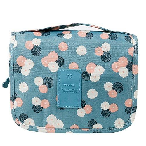 Trixes blauer Kulturbeutel im Floral-Design kompakt und aufhängbar mit vielen Taschen für Reise Pflege Beauty Bedarf