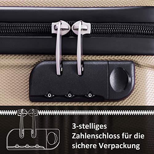 Flieks Reisekoffer Kofferset Hartschale 4 Zwillingsrollen Trolleys Gepäck Koffer 3tlg. (Champagner, L) - 7