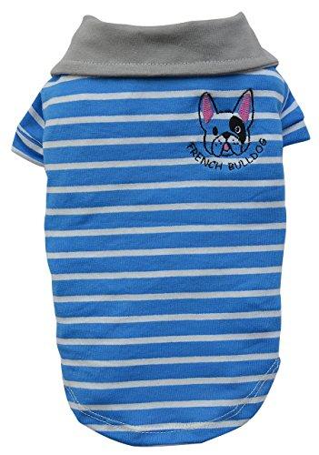 Doggy Dolly T499 Polo Hundeshirt französische Bulldogge, blau/weiß Gestreift, Größe : XL (Französisch-gestreiften T-shirts)