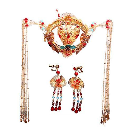 MICOKY Chinesisches Kostüm Kimono Kimono Phönix Stirnband Lange Quaste Hochzeit Kleid Haarzusätze (Phoenix Kostüm Kinder)