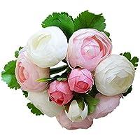 Sharplace 6 Tallo Camelia de Ramillete Flor de Seda Artificial para Decoración de Boda de Casa - Blanco Rosa