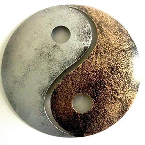 Shamwari Art Yin Yang aus Metall, Silber/Gold, 20cm, wetterfest - Wanddeko Meditation Zen Garten