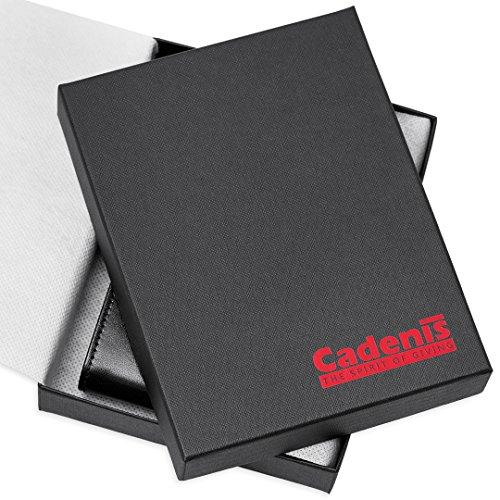 Cadenis Leder Kartenetui Ausweisetui mit persönlicher Laser-Gravur aus Rindnappa schwarz Hochformat 12,5 x 9,5 cm
