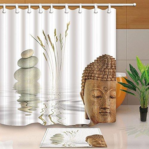 Zen Spa Stein Bad Vorhang Buddha mit Wild Gräser Reflection in Wasser 180x 180cm Polyester-Schimmelresistent-Dusche Vorhang Set mit 60x 40cm Flanell rutschfeste Boden Fußmatte Bad Teppiche (Dusche Vorhang Badezimmer-set)