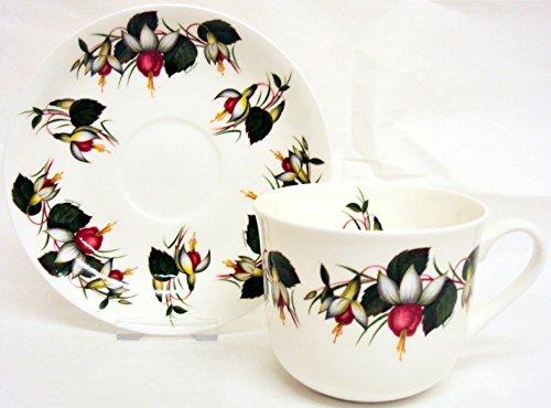Fuchsia & Soucoupe tasse petit-déjeuner en porcelaine anglaise Motif grandes tasses Fuchsia & Soucoupe décorée à la main en forme de U. K. De la livraison gratuite Fuchsia Bone China