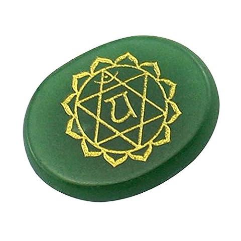 Contever® Gravierte Steine Zur Balance Reiki Chakren Holistic Health Care Products - 1 Stück Aventurin (Herz Chakra)