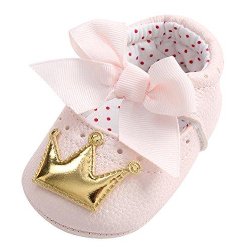 Hirolan Neugeborenes Krabbelschuhe Säugling Babyschuhe Mädchen Krone Prinzessin Lauflernschuhe Weiche Sohle Krippeschuhe Anti-Rutsch Turnschuhe Hallenschuhe Sneaker (11CM, Gold)