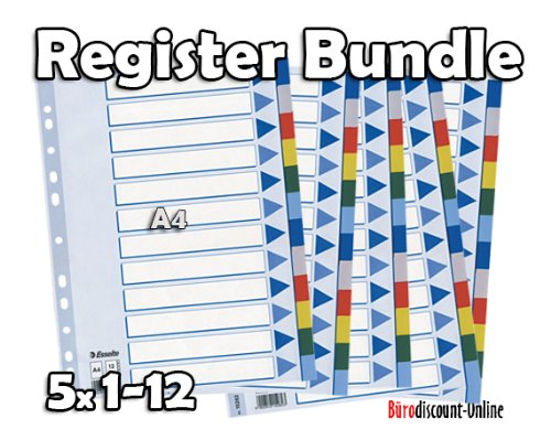 LEITZ Plastikregister (1-12), blanko   5er Bundle Sparpaket   A4 , Universallochung   Beschriftbares Deckblatt