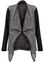 Womens Long Wetlook Sleeves Stretchy Waterfall Blazer (S/M (UK 8-10), Grey)