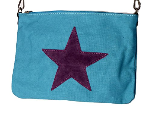 Umhängetasche Canvas mit aufgenähtem Stern - Maße 27 x 19 cm - Damen Mädchen Tasche mit verstellbaren Schulterriemen - neue Frühjahrs Farben türkis/brombeere